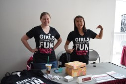 Kelly, Events Director for GW@MIT, and Erica, one of the co-chairs of the Empowerment Conference, show off custom shirts made for the conference. Girls just wanna have fundamental rights!