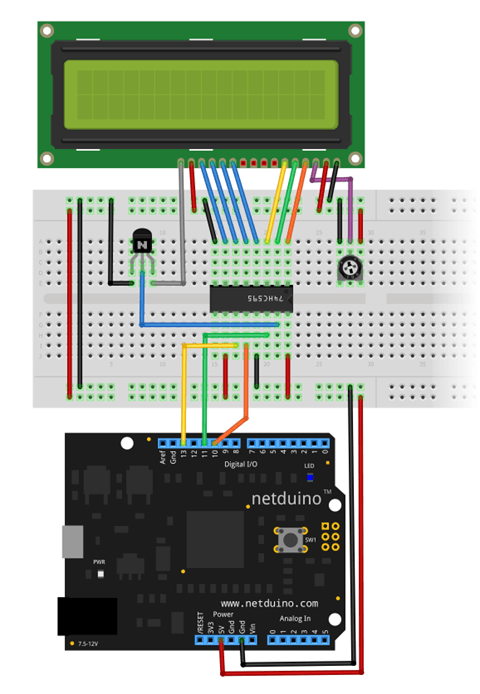 Wiring 16x2 LCD to Netduino via shift register