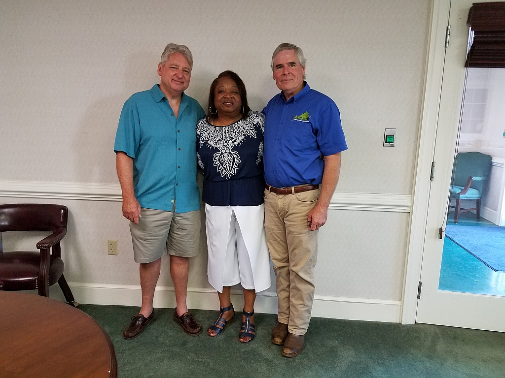 Yates Properties (Greg and Liz Yates) donate bank furniture to Carver center charities.  From L to R:  Greg Yates, Lois Goodall (GWCRHSAA) and Carl Stafford (GWCARC).