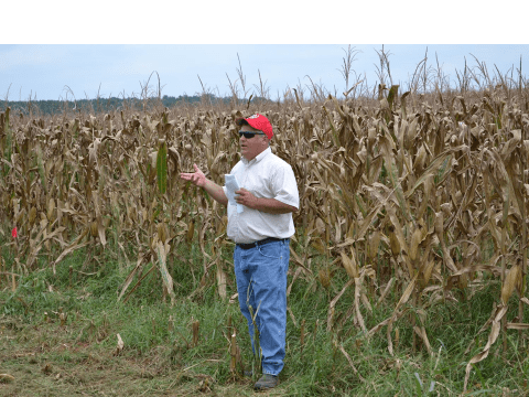Robert Shoemaker, Nutrient Management Specialist, Virginia DCR, speaks  during the corn and carbon field day held at Battle Park Farms.