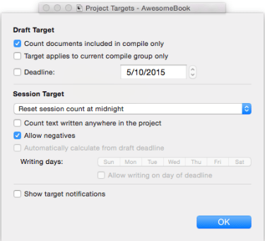 project target options window