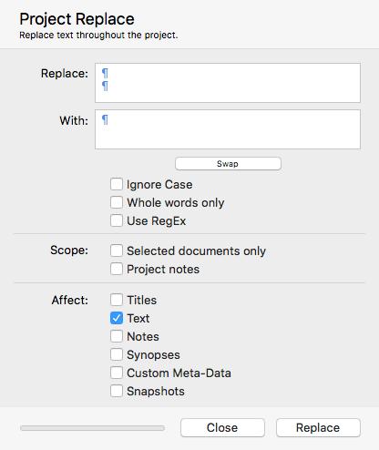 Mac project replace window