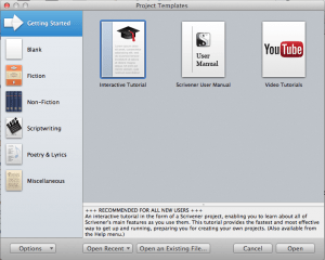 Mac new project window