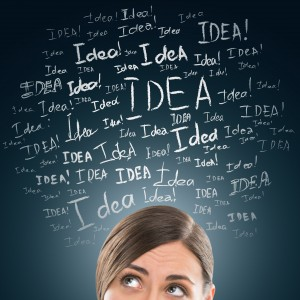 Pic of woman with ideas around her head