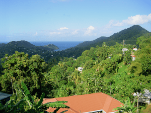 St. Lucia view of mountains and ocean
