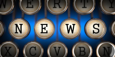 NEWS on typewriter keyboard