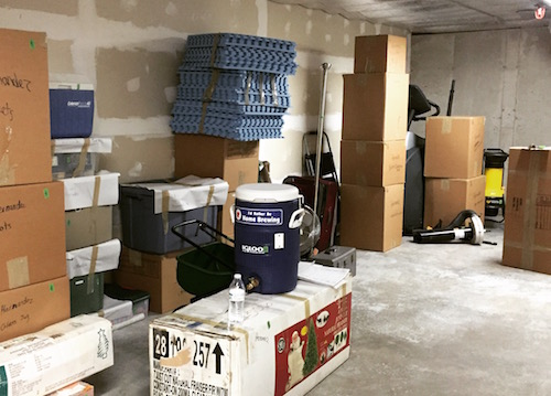 image of boxes in basement