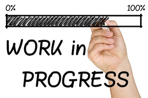 progress bar with work in progress written by hand