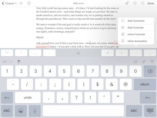 extended keyboard and adding annotations