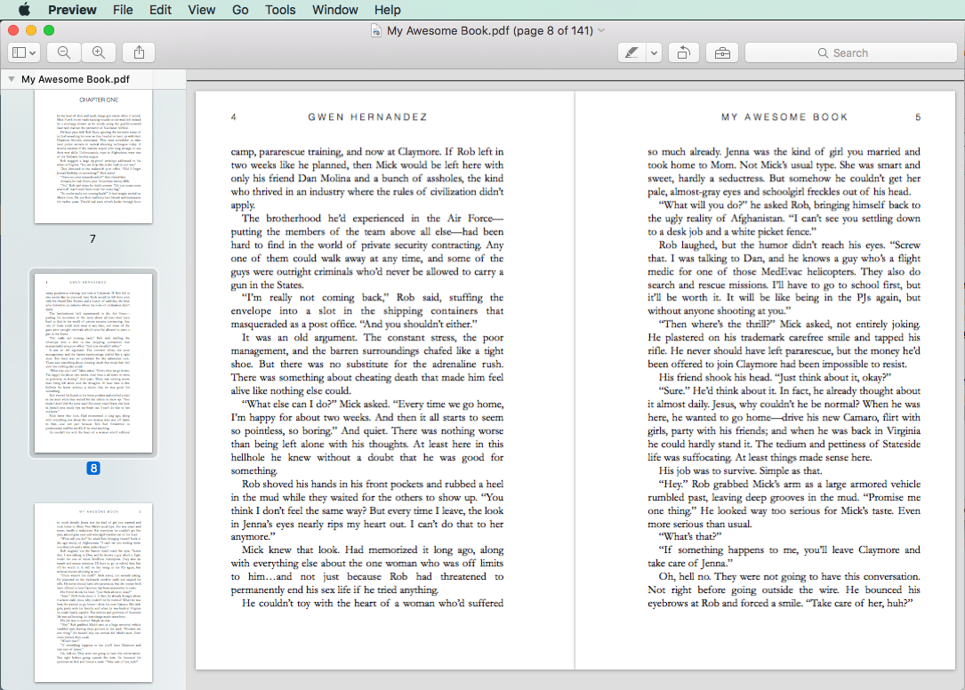 sample PDF pages right and left pages with headers