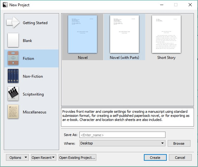 Choosing a scrivener project template gwen hernandez choosing a scrivener project template pronofoot35fo Images