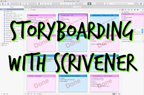 "Scrivener corkboard with ""Storyboarding with Scrivener"" scrawled across it"