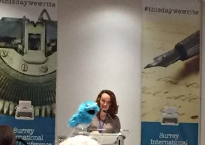 Mary Robinette Kowal and her puppet at lectern