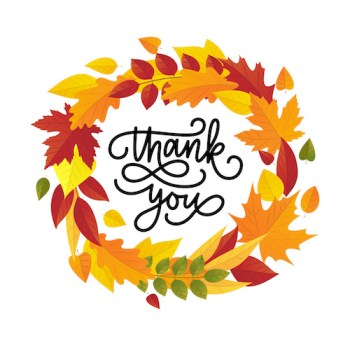 illustration of autumn leaves wreath and lettering thank you.
