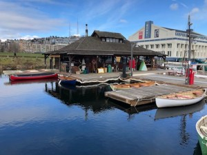 boathouse and canoes on water