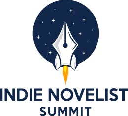 Rocket ship on blue circular field above the words Indie Novelist Summit