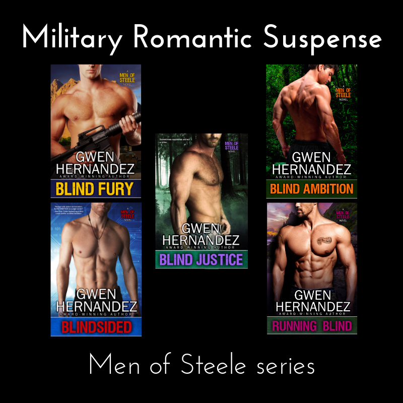 The five Men of Steele book covers arranged with two on each side and one in the middle, titled Military Romantic Suspense, subtitled Men of Steele series, with white lettering on black background