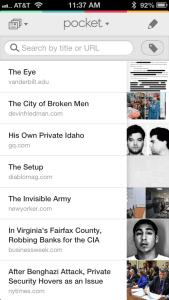 Pocket reading app