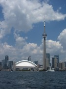 View of Rogers Centre and CN Tower from the Toronto harbor.