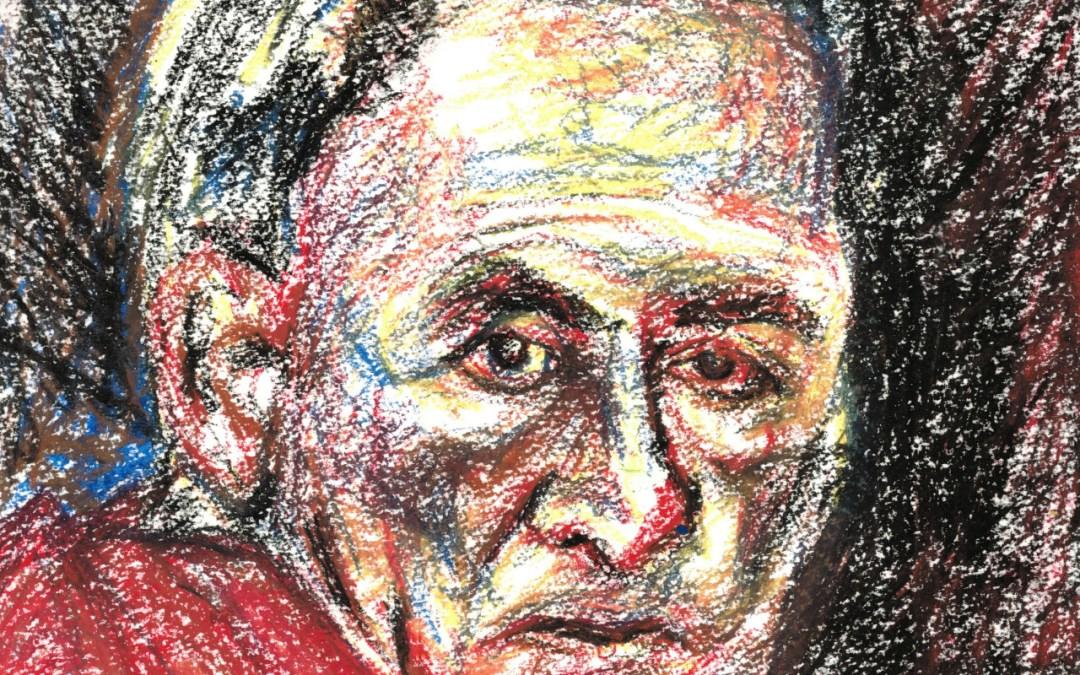Old Man, crayons