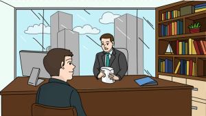 An illustration of an interviewee and interviewer - talent acquisition