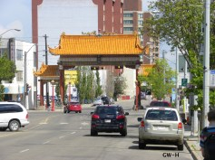 Chinatown gate & orange traffic lights