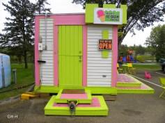 Oleo's ice cream stand green door by Mirror Lake