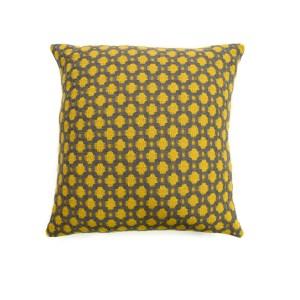 Yellow/Solid Grey Crossroads Cushion