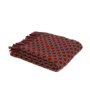 Crossroads Solid Grey/Cranberry Throw