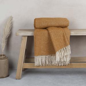 Anna Pure New Wool Throw – Ochre