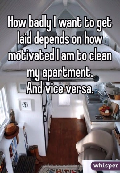 to get laid gotta clean the house