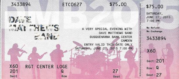 DMB Tour 2015-06-27 ticket stub