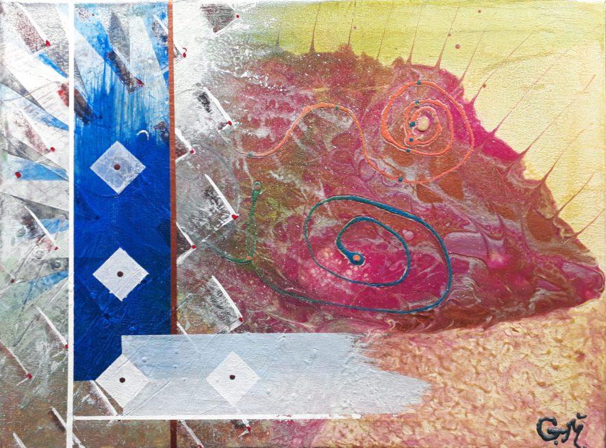 """#31 """"Kaeru"""" Acrylique sur toile, 30x40"""