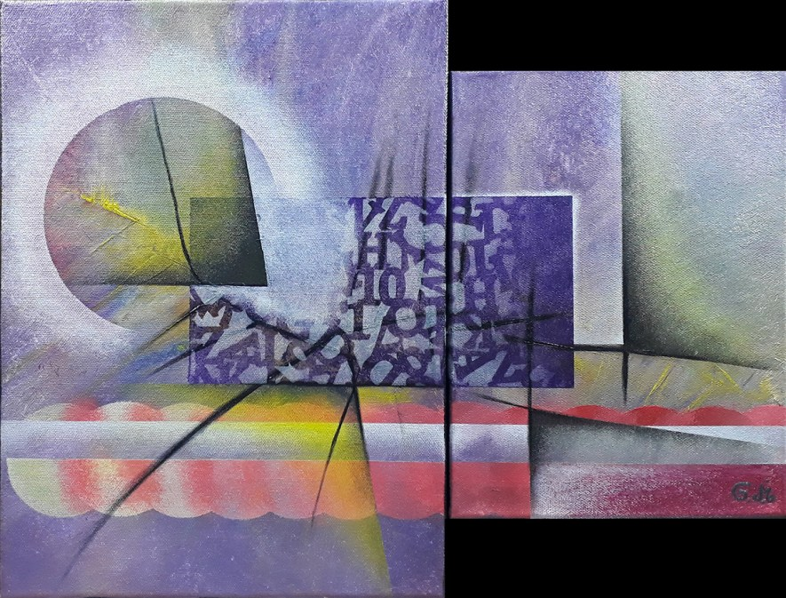 """#62 """"Fonte"""" Acrylique sur toile, 40×50(30+20)"""