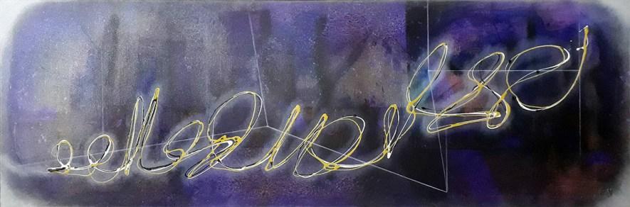 """#68 """"Crépuscule"""" Acrylique sur toile, 40x120"""