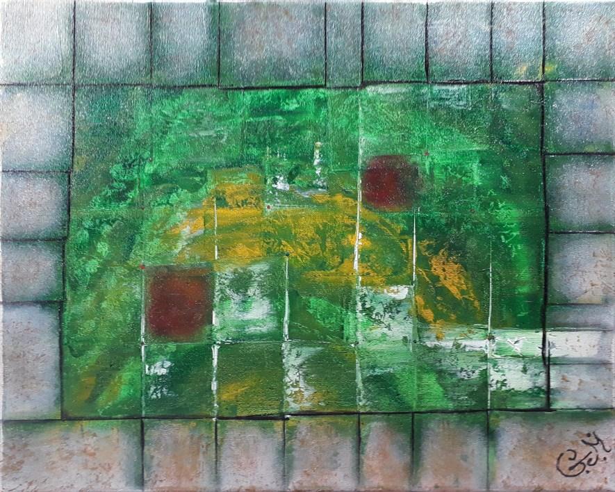 """#69 """"Exocentré"""" Acrylique sur toile, 40x50"""