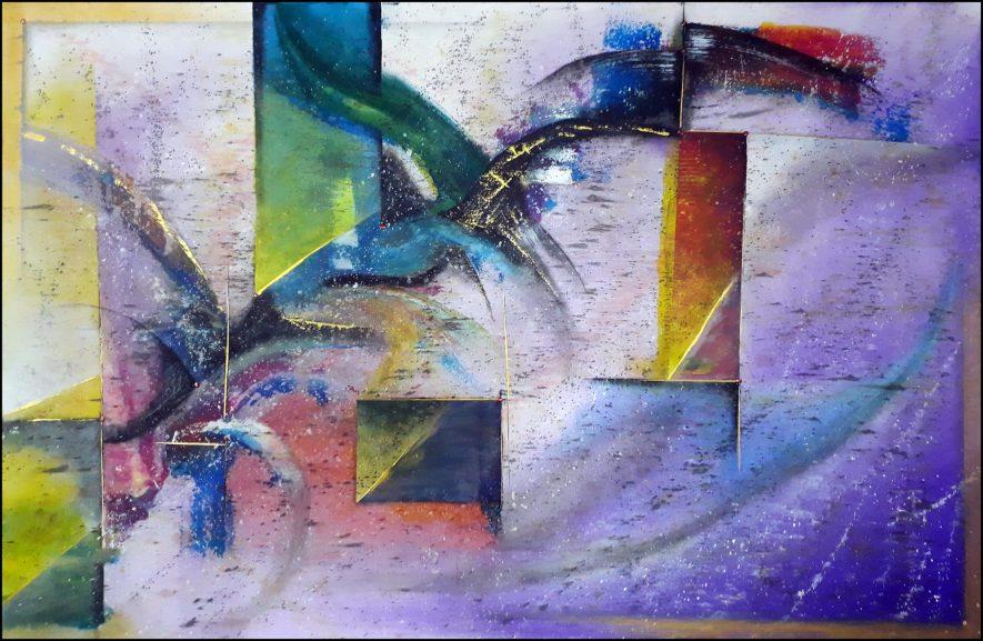 """#88 """"Assoupie"""" Acrylique sur toile, 75x115"""