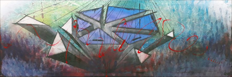 """#91 """"Kurma"""" Acrylique sur toile, 40x120"""