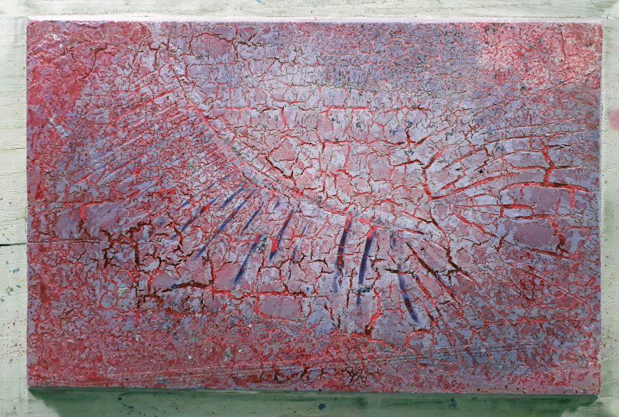 """#95 """"Fragments"""" Acrylique sur panneau de chêne, 30x40"""