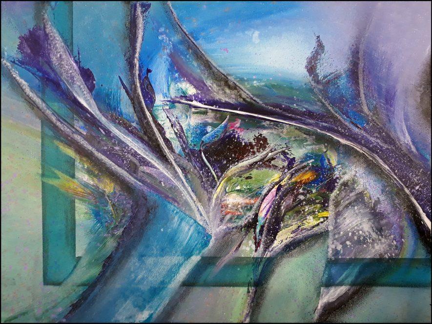 """#96 """"Freyja"""" Acrylique sur toile, 30x40"""