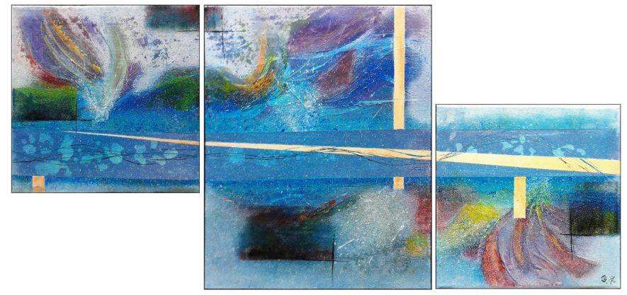 """#120 """"Océanides"""" Acrylique sur toile, 30x64"""