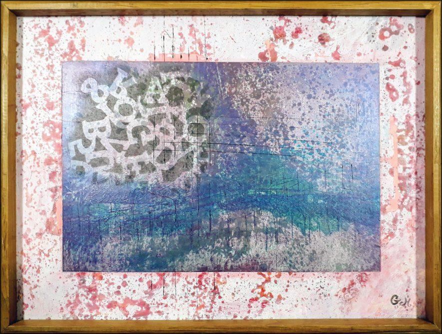 """#121 """"Refluge"""" Acrylique sur carton, 31x41"""