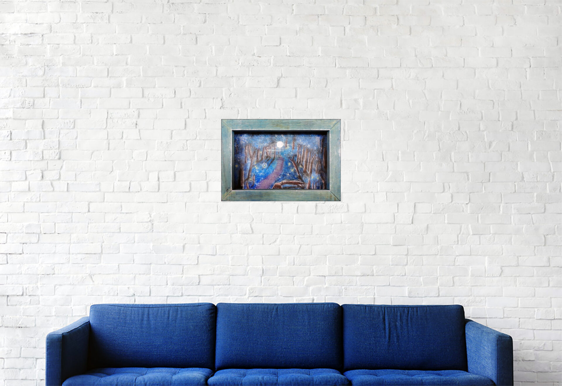 """#151 """"Halo"""" Acrylique sur carton, résine epoxy, Leds et bois. 24 x 30,5 cm"""