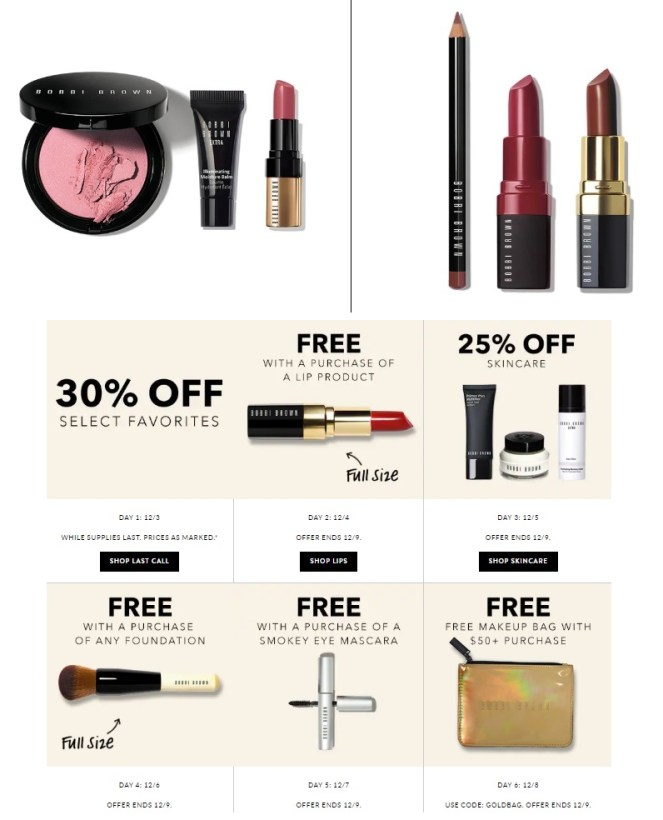 bobbi brown gift with purchase and offers