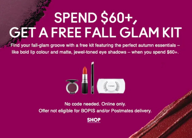 mac cosmetics gift with purchase