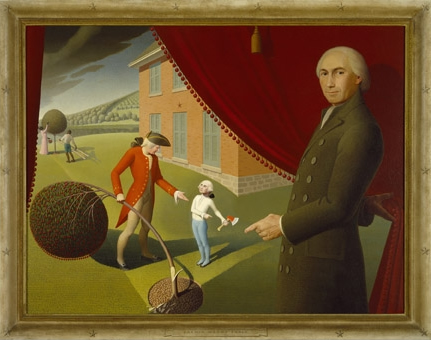 Grant Woods painting illustrating Parson Weems telling the story of George Washingtons honesty.