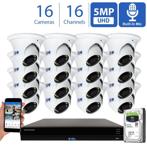 GW Security 16 Channel 5MP IP PoE Security Camera System, 16ch 4K NVR & 16 × 5MP IP 3.6mm Fixed Lens Turret Security Cameras with Built-in Microphone