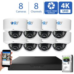 GW970HD 8 Channel 8 Camera 4K H.265+ Dome Security Camera System