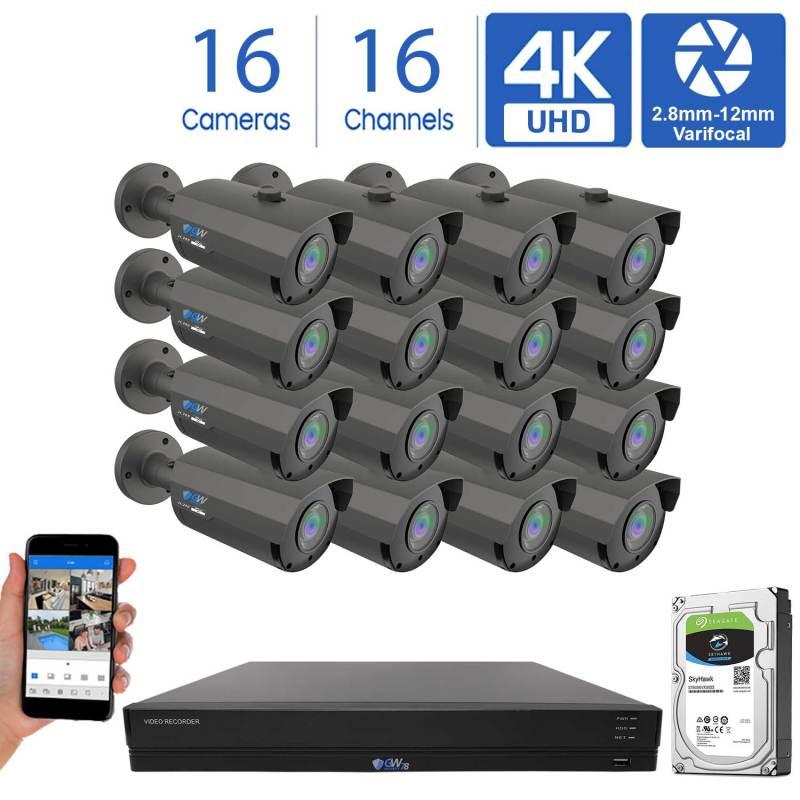 GW956HD16-4T 16 Channel 16 Camera Coaxial 4K DVR Varifocal Bullet Security Camera