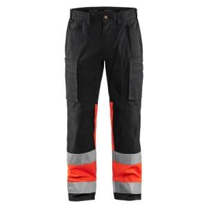 Blåkläder 1551 werkbroek met Stretch High Vis Zwart/Rood